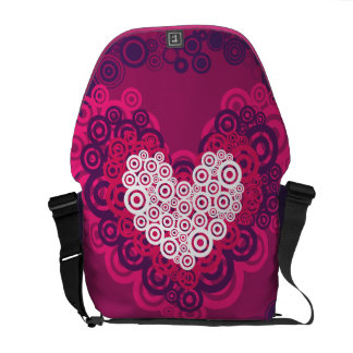 Cool Hearts Circle Pattern Hot Pink Purple Courier Bags
