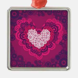 Cool Hearts Circle Pattern Hot Pink Purple Square Metal Christmas Ornament