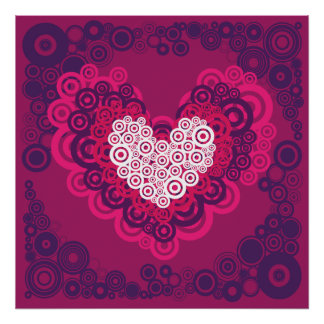 Cool Hearts Circle Pattern Hot Pink Purple Poster