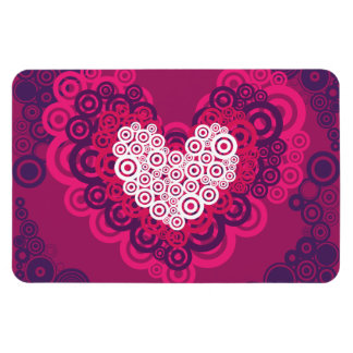 Cool Hearts Circle Pattern Hot Pink Purple Rectangular Photo Magnet