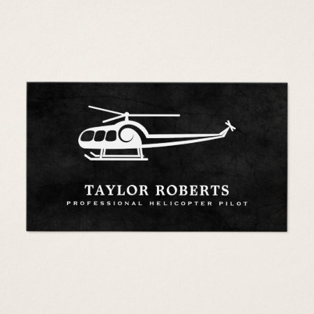Black and White Grunge Helicopter Silhouette Pilot Business Cards Template