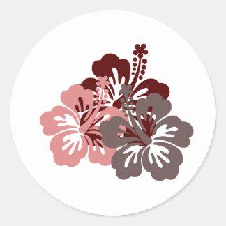 cool hibiscus classic round sticker