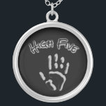 """Cool High Five Hand Silver Plated Necklace<br><div class=""""desc"""">Change the color on this cool high five hand. Makes a great gift! Designed by Janet Palaggi</div>"""