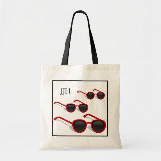 Cool Hip Red Sunglasses Optional Monogram Beach Bags