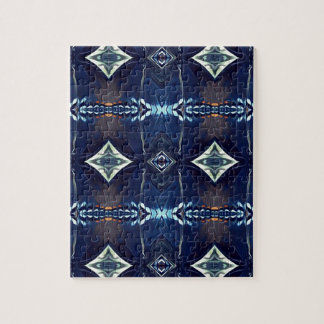 Cool Hip Trendy Blue Tribal Pattern Jigsaw Puzzle