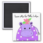 Cool Hippo 2 Inch Square Magnet