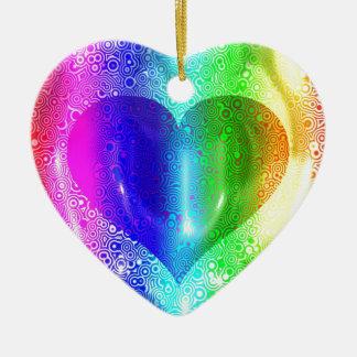 Cool Hippy Heart Design Ceramic Ornament