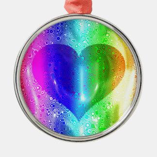 Cool Hippy Heart Design Metal Ornament