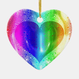 Cool Hippy Heart Design Christmas Ornaments