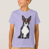 Cool Hipster Black and White Boston Terrier T-Shirt