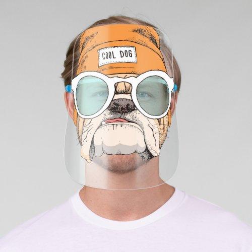 Cool Hipster Bulldog Face Shield