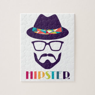 Cool Hipster colourful hat glasses Jigsaw Puzzle