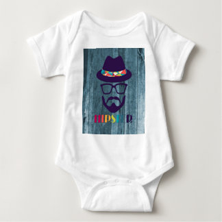 Cool Hipster colourful hat glasses on blue wood Baby Bodysuit