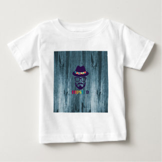 Cool Hipster colourful hat glasses on blue wood Baby T-Shirt