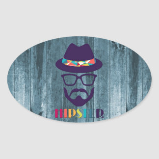 Cool Hipster colourful hat glasses on blue wood Stickers
