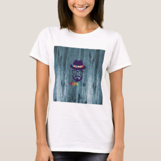 Cool Hipster colourful hat glasses on blue wood T-Shirt