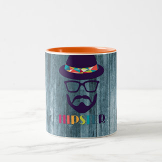 Cool Hipster colourful hat glasses on blue wood Two-Tone Coffee Mug