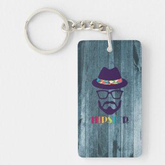 cool hipster cool hat glasses beard blue wood Single-Sided rectangular acrylic keychain