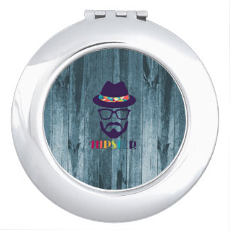 cool hipster cool hat glasses beard blue wood travel mirror