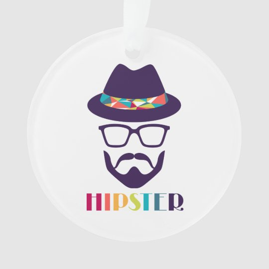 cool hipster cool hat glasses fun beard ornament