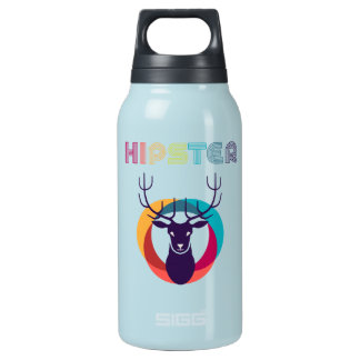 cool hipster deer colourful effects insulated water bottle