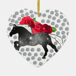 Cool Hipster Diamonds Roses Horse Nebula Galaxy Ceramic Ornament