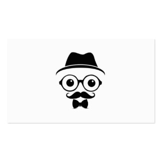 Cool Hipster With Eyeglasses Business Card Design