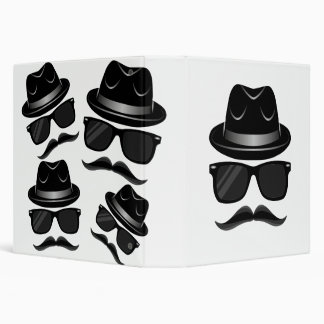 Cool Hipster with mustache, hat and sunglasses Binder
