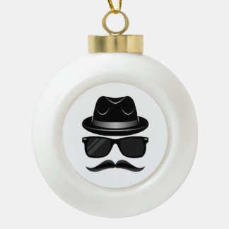 Cool Hipster with mustache, hat and sunglasses Ceramic Ball Christmas Ornament