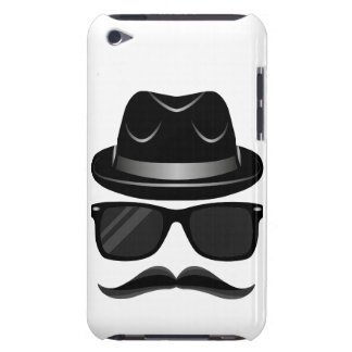 Cool Hipster with mustache, hat and sunglasses iPod Touch Case-Mate Case