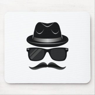 Cool Hipster with mustache, hat and sunglasses Mouse Pad