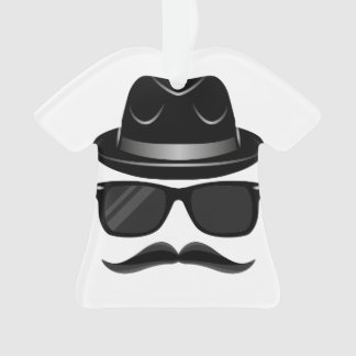 Cool Hipster with mustache, hat and sunglasses Ornament