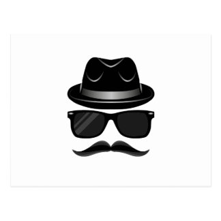 Cool Hipster with mustache, hat and sunglasses Postcard