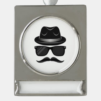 Cool Hipster with mustache, hat and sunglasses Silver Plated Banner Ornament