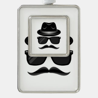 Cool Hipster with mustache, hat and sunglasses Silver Plated Framed Ornament