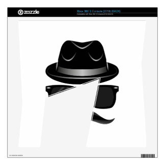 Cool Hipster with mustache, hat and sunglasses Xbox 360 S Skins