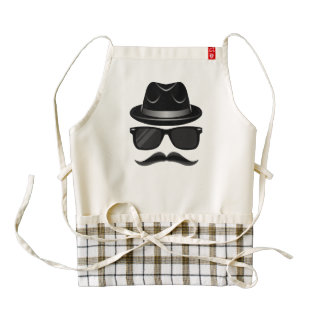 Cool Hipster with mustache, hat and sunglasses Zazzle HEART Apron
