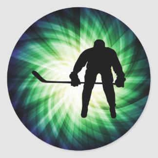Cool Hockey Player Classic Round Sticker