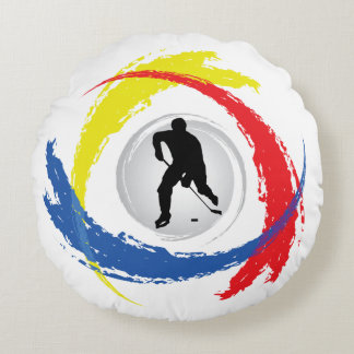 Cool Hockey Tricolor Emblem Round Pillow
