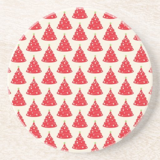Cool Holiday Red Christmas Tree Pattern Xmas Coasters
