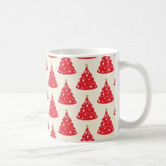 Cool Holiday Red Christmas Tree Pattern Xmas Coffee Mug