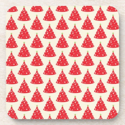 Cool Holiday Red Christmas Tree Pattern Xmas Beverage Coasters