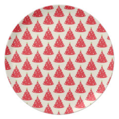 Cool Holiday Red Christmas Tree Pattern Xmas Dinner Plates