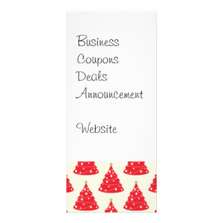 Cool Holiday Red Christmas Tree Pattern Xmas Full Color Rack Card