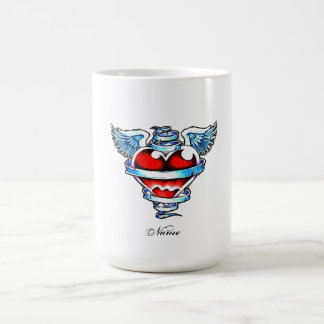 Cool Holy Heart with Angel Wings Classic White Coffee Mug