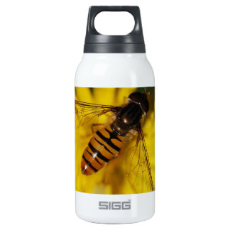 Cool Honey Bee on Flower in Nature Photography Insulated Water Bottle