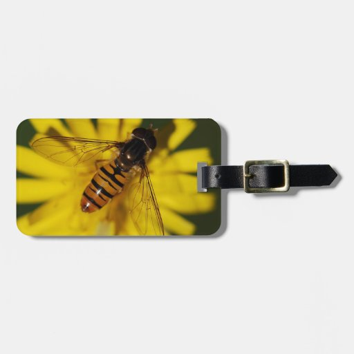 Cool Honey Bee on Flower in Nature Photography Travel Bag Tag