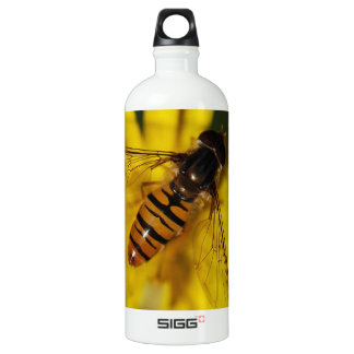 Cool Honey Bee on Flower in Nature Photography Water Bottle