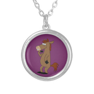 Cool horse design matching jewelry set round pendant necklace
