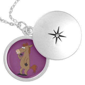 Cool horse design matching jewelry set round locket necklace